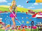 Barbie Limpando a Piscina